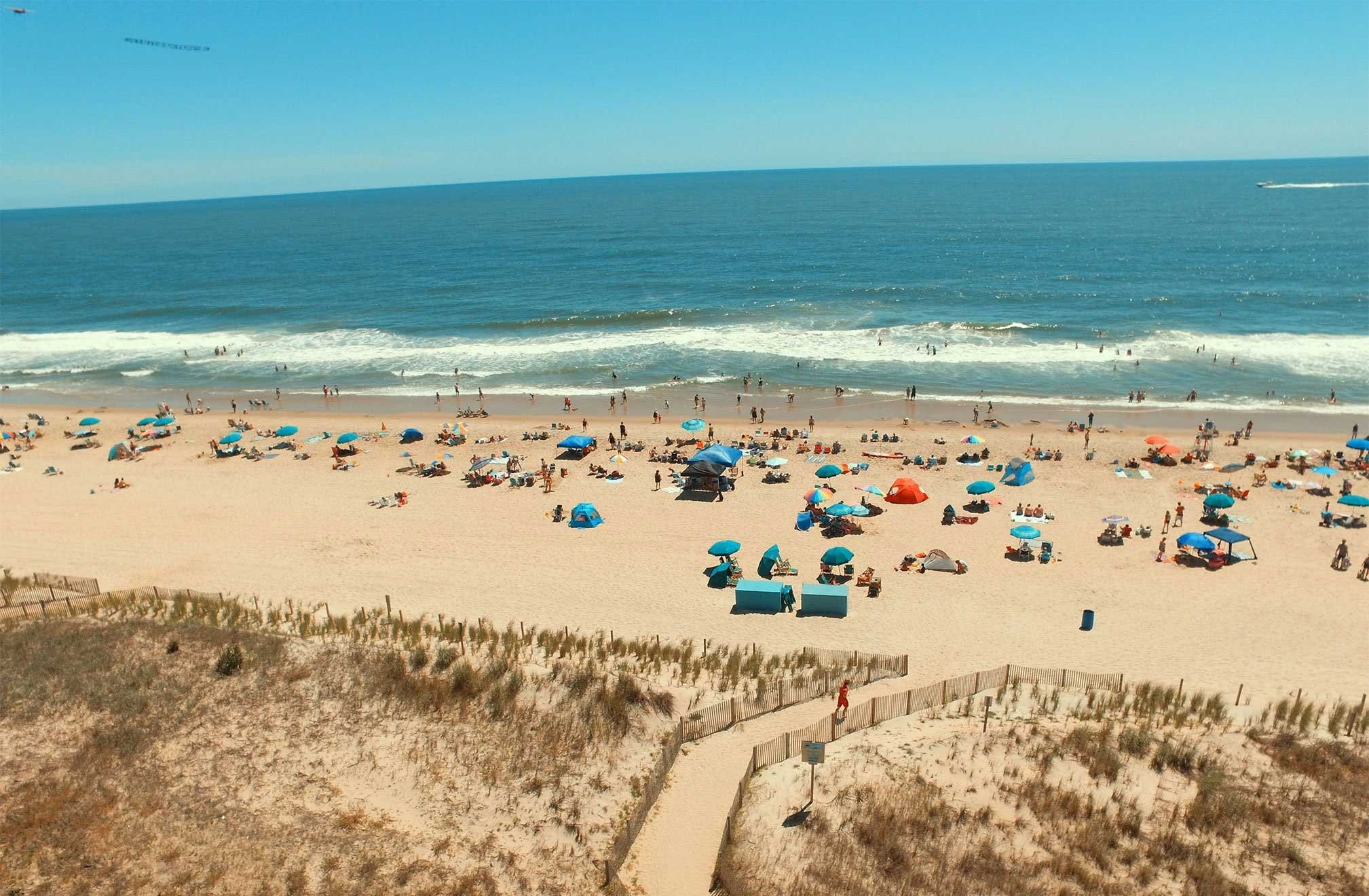 Aerial view of people on the beach from Atlantic Oceanfront Inn