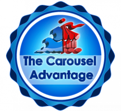Blue and red colored Carousel Advantage logo