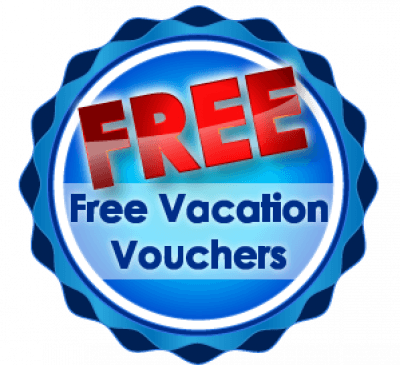 Blue and red Free Vacation Vouchers logo